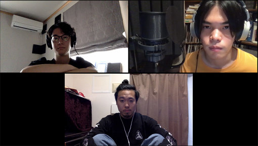 左上から時計回りに:松丸契(SMTK)、荘子it(Dos Monos)、石若駿(SMTK)
