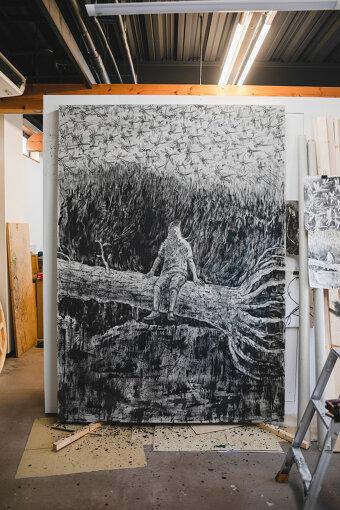 制作中の作品『旅の果て』キャンバスに水性アルキド樹脂塗料、油絵具、木炭 / 2270×1620mm / 2020年