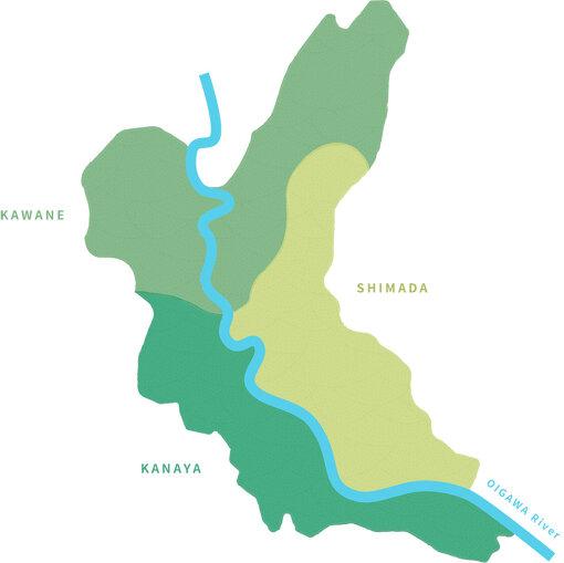 島田市は、島田、金谷、川根の3つの地域からできている