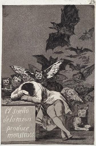 フランシスコ・ホセ・デ・ゴヤ・イ・ルシエンテス「ロス・カプリーチョス」より『理性の眠りは怪物を生む』1799年 国立西洋美術館蔵