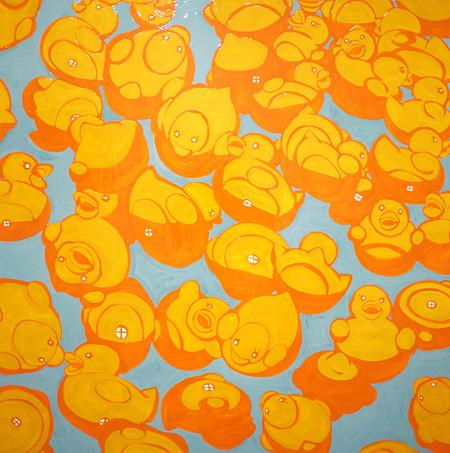 月末よしみん(TSUKIZUE YOSHIMIN) 「心の中のムニュン」 2011年 / 455×455mm / カシュー漆、木パネル (Gallery Introart 出展/ホテルモントレ会場)