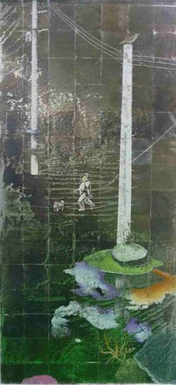 『損保ジャパン美術賞FACE 2013』グランプリ 堤康将『嘯く』2012年、岩絵具・銀箔・麻紙、194.1×92.2cm