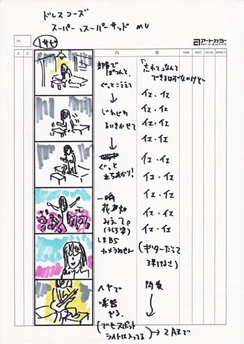 """""""スーパー、スーパーサッド""""のMV画コンテ"""