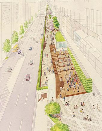 「東急東横線桜木町駅跡地の再利用」イメージ図。横浜を代表する魅力的な遊歩道となる予定