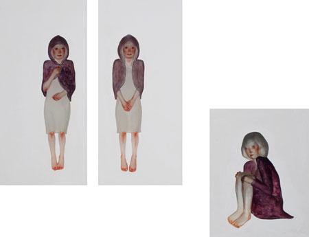 VOCA展2010 VOCA奨励賞 中谷 ミチコ 「そこにあるイメージ I」「そこにあるイメージ II」 122.8×59.3×8.0cm、122.5×56.5×8.0cm、84.5×69.0×9.0cm 石膏、ポリエステル合成樹脂、樹脂用顔料 撮影者©上野則宏