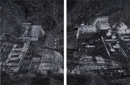 VOCA展2010 佳作賞 清川 あさみ 「HAZY DREAM」 150.0×112.5×3.0cm が2点 写真、刺繍糸 撮影者©上野則宏