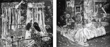 VOCA展2010 VOCA賞 三宅 砂織 「内緒話」「ベッド」 各145.0×165.0×5.0cm ゼラチンシルバープリント 撮影者©上野則宏