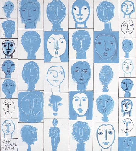 《顔35》 アクリル絵具,キャンバス 1989年 丸亀市猪熊弦一郎現代美術館所蔵 © 財団法人ミモカ美術振興財団