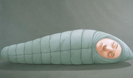 西村画廊 小林孝亘 「Sleeping bag (green)」 97×162cm、oil on canvas、2010