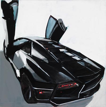 Tatjana DOLL CAR Boombox (A.R/Lamborghini) enamel on canvas 150 x 150 cm 2010
