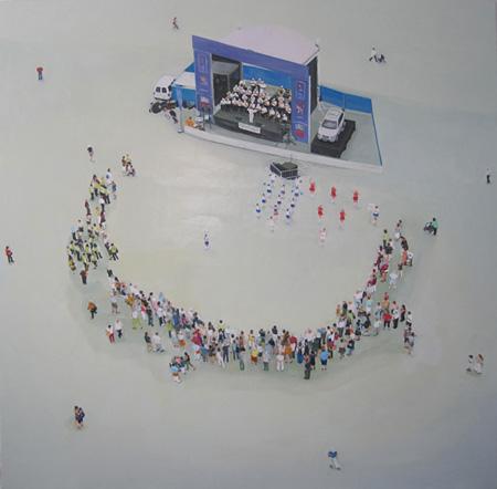 俯瞰された群像の姿から人間の内面に迫る大田ゆら個展、閉店が決定したshin-biで開催