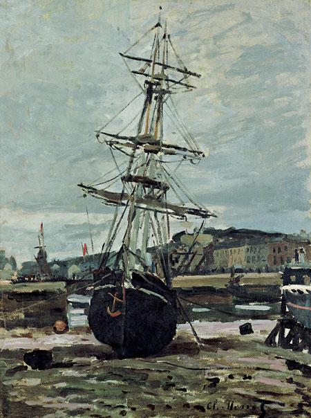 クロード・モネ 《乗り上げた船、フェカンの干潮》 1868年 油彩、カンヴァス