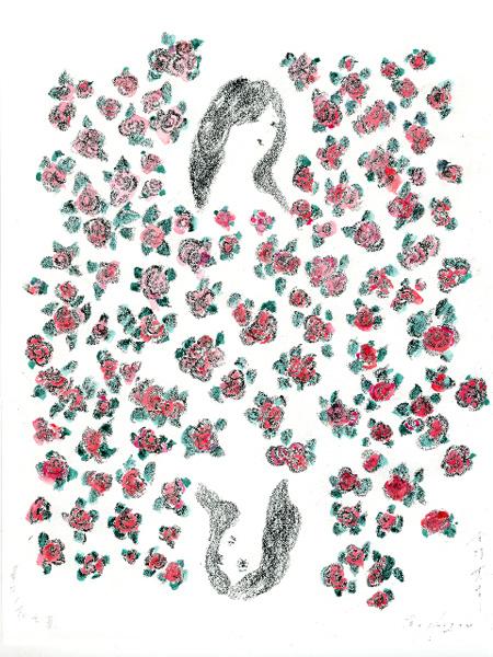 「華子の花言葉」より/ クレヨン、水彩、インク