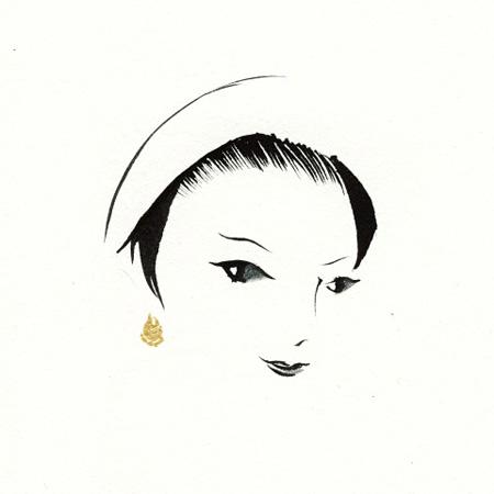 「きれいなおかあさん」より 部分/インク、鉛筆、金泥