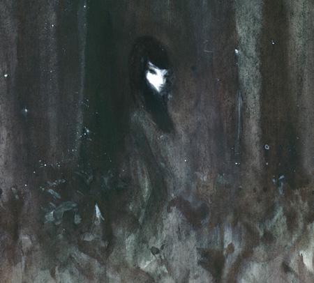 「夕闇の百合畑にたたずむ自意識に\野津老い女のイメージ」(部分)/和紙、インク、鉛筆、胡粉