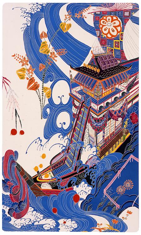 「地球船都市号」 2010  友禅染、絹、パネル 1650x990mm ©ISHII Toru Courtesy Mizuma Action