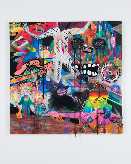 [ gyaragos ] Acrylic paint, embroidery thread, plastics on canvas 150 cm × 150 cm 2010