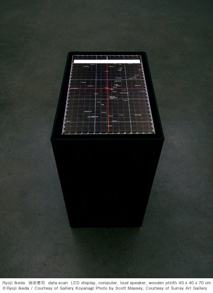 Ryoji Ikeda 池田亮司 data.scan LED display, computer, loud speaker, wooden plinth 40 x 40 x 70 cm © Ryoji Ikeda / Courtesy of Gallery Koyanagi Photo by Scott Massey, Courtesy of Surrey Art Gallery