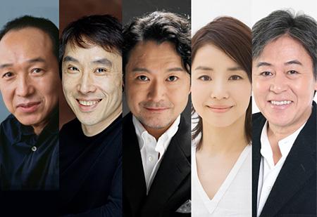 『国民の映画』キャスト(左から:小日向文世、段田安則、白井晃、石田ゆり子、風間杜夫)