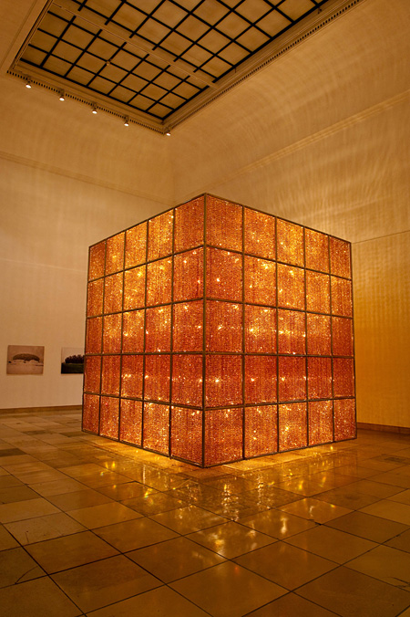 Cube Light 2008 Glass crystal, lights and metal H 414×L 400×W 400cm Courtesy of Haus der Kunst ©Anna Flore