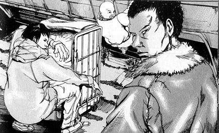 左から砧 我修院演じるジジイ 永瀬演じる丈 ©真鍋昌平/講談社