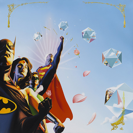 "トゥクラール&タグラ Thukral & Tagra『SCIENCE, MYSTERY AND MAGIC III(BATMAN+WONDERWOMEN+ROBIN+SUPERMAN)』 2011 Oil on canvas 67"" x 72"" x 3""(183 x 183x 7.5cm)"