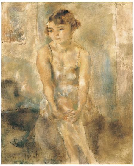 《下着姿の座る少女》ジュル・パスキン1928年