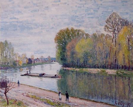 《春の朝・ロワンの運河》アルフレッド・シスレー1897年