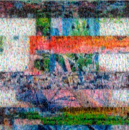 石井友人 Compound Eye (block noise images) 2010, oil on canvas 150 x 150 cm ©Tomohiro Ishii