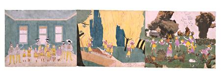 (左)『ノーマを経由して、ジュロ・カロにて。二度グランデリニアンに捕まるが、命からがら逃げる。』(中)『オズモンドソンの後。森林火災と姿の見えない敵、グランデリニアンに追われるヴィヴィアン・ガールズ』(右)『グロリニアのアーロンバーグ・ランにて。ヴィヴィアン・ガールズはグランデリニアンの砲撃を受ける。神に感謝するがよい。破裂弾の大爆発には距離があった。』(Collection of Kiyoko Lerner ©Kiyoko Lerner,2011)