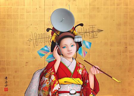 田村吉康 ANTENNA 2009年 1500×2100 アクリル絵具、金箔、墨