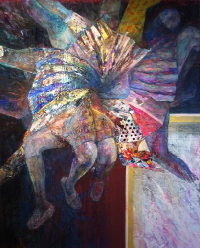 日比谷泰一郎 依存共存、少しの拒絶 2010年 1600×1300 岩絵具、コラージュ、アクリル絵具