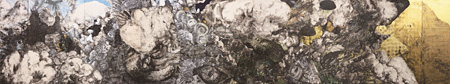 三瀬夏之介『だから僕はこの一瞬を永遠のものにしてみせる』 2010 和紙に墨、胡粉、アクリル、インクジェットプリントのコラージュ 272×1456cm 撮影:瀬野広美 ©Natsunosuke MISE Courtesy imura art gallery