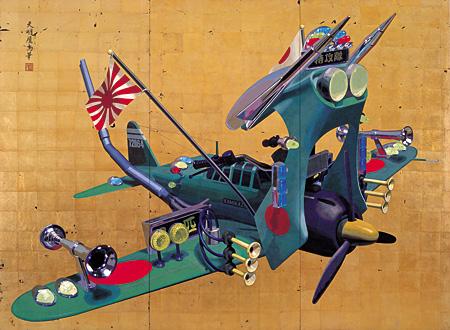 天明屋尚『神風』 2003 アクリル絵具、金箔、木 200×272.4cm 個人蔵 ©TENMYOUYA Hisashi Courtesy Mizuma Art Gallery