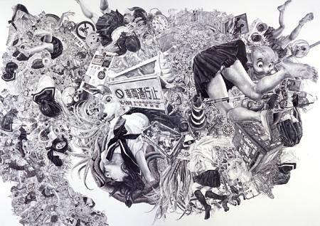 熊澤未来子『侵食』 2009 パネル、ジェッソ、鉛筆 227.3×324cm 撮影:宮島径 ©KUMAZAWA Mikiko Courtesy Mizuma Art Gallery