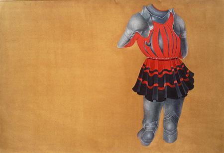 "Attiya Shaukat ""Untitled""(2010) 26.4 x 39.8 cm Silver metallic wire, tea wash and gouache on wasli"