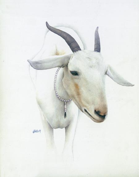 "Ahsan Jamal ""Morning Walk"" (2009) 32 x 25 cm Neemrang on Wasli"