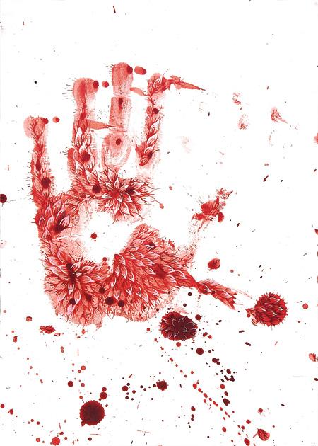 "Imran Qureshi ""This Leprous Brightness,?"" (2010) 29.5 x 21 cm Gouache on wasli"