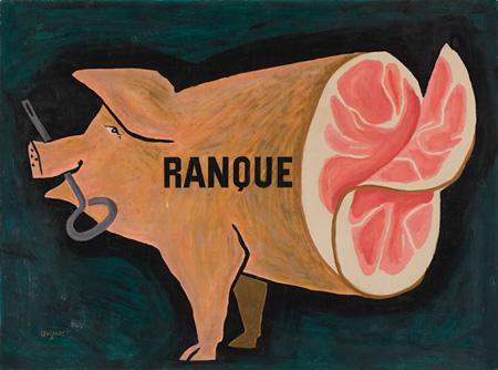 ランクハムための原画 Maquette pour Ranque 1951 原画 グアッシュ ギィ アンティックギャラリー ©Raymond Savignac