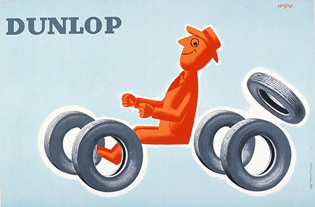 ダンロップ Dunlop 1953 リトグラフポスター 川崎市市民ミュージアム ©Raymond Savignac