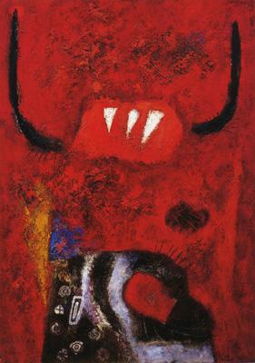 菅井汲《赤い鬼》1954年、石橋財団ブリヂストン美術館