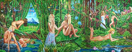 「ダフネの森」 2011年 acrylic on canvas 194x486cm ©MIYAZAKI Yujiro Courtesy Mizuma Action