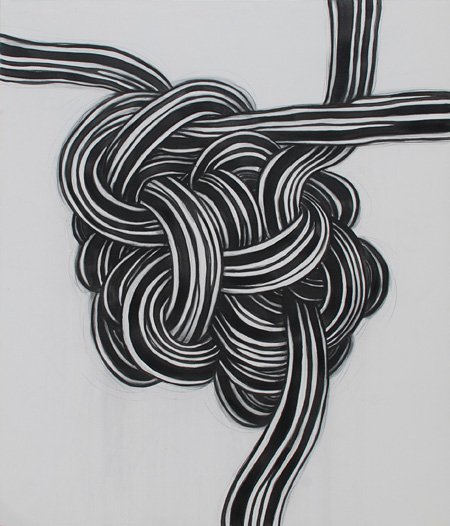 『Gordian Knot 1』 2011 Charcoal, blue ink and gesso on canvas 123 x 145 cm
