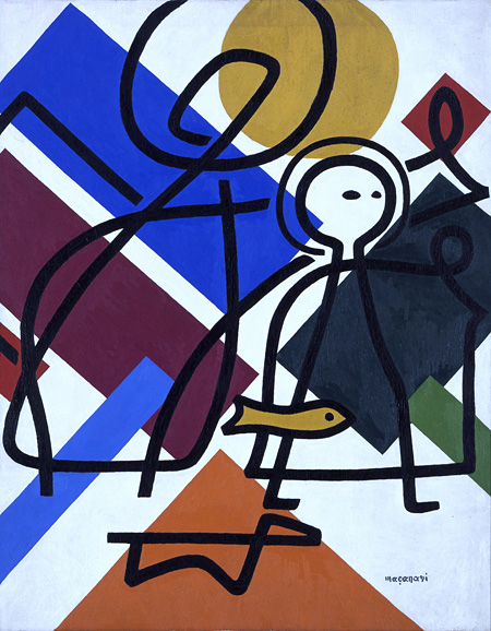 村井正誠《天使とトビア》1950年頃 油彩、キャンヴァス