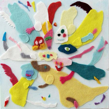 多田玲子「ふられパターン」, 2011 木にアクリル、フェルト、18 x 18 cm