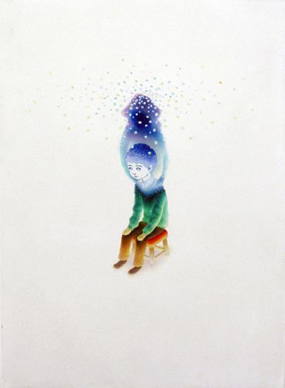 渡邊陽平「もうすぐ来るよ」, 2011 油彩、アクリル、顔料インク、和紙、パネル、33.4 x 24.4 cm