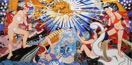 石原七生 「海人 Lucky Dragon No.5」 2010 パネルに天竺綿、日本画材、アクリル、ガッシュ 192×391cm 撮影:宮島径 ©ISHIHARA Nanami Courtesy Mizuma Art Gallery