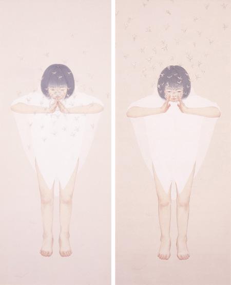渡邊佳織「そう1(左)」「そう2(右)」水干絵具、岩絵具、絵絹 各149*63cm 2008