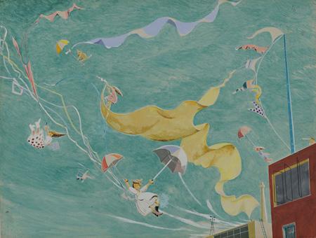 ≪大きな風≫1950年 日本童画会出品 水彩・紙