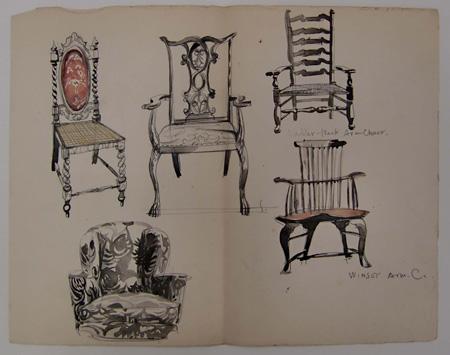 進駐軍の家具制作のためのスタディーとしての椅子図 1946年 墨・着彩